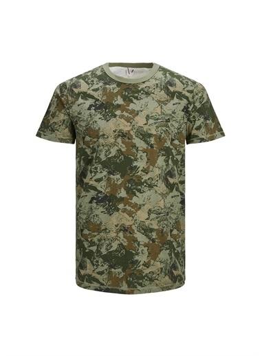 Jack & Jones Jack & Jones Erkek Açık Haki Kamuflaj Desenli T-Shirt Haki